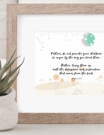 "Fathers Do Not Provoke Your Children – Inspirational Christian Art Gallery Wrap for Baby's Nursery – Premium Matte Cotton, 10"" x 8"""