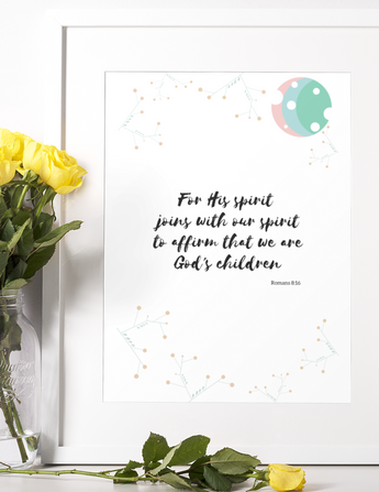 "For His Spirit Joins With Our Spirit - Inspirational Bible Verse Poster for Baby's Nursery – Premium Matte, 12"" x 18"""