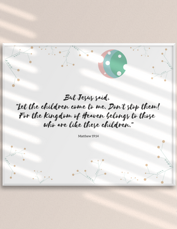 "Let the Children Come to Me – Inspirational Christian Art Gallery Wrap for Baby's Nursery – Premium Matte Cotton, 10"" x 8"""