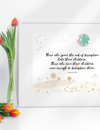 "Those Who Spare the Rod – Inspirational Christian Art Gallery Wrap for Baby's Nursery – Premium Matte Cotton, 10"" x 8"""