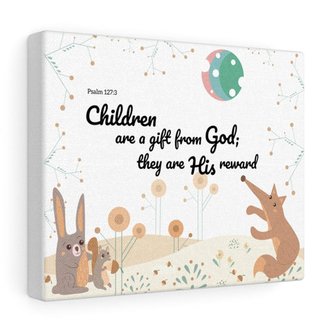 "Children Are a Gift – Woodland Animals – Inspirational Christian Art Gallery Wrap – Premium Matte Cotton, 10"" x 8"""