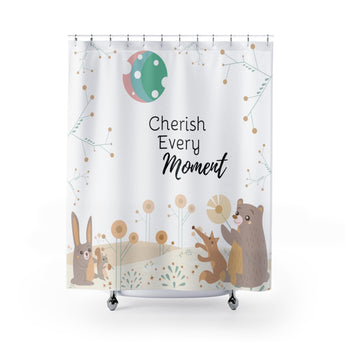 Inspirational Shower Curtain – Beautiful Woodland Animals Scene – Cherish Every Moment