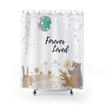 Inspirational Shower Curtain – Beautiful Woodland Animals Scene – Forever Loved