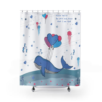Inspirational Christian Shower Curtain – White - Beautiful Under the Sea Scene - Psalm 46:10, Be Still and Know That I am God