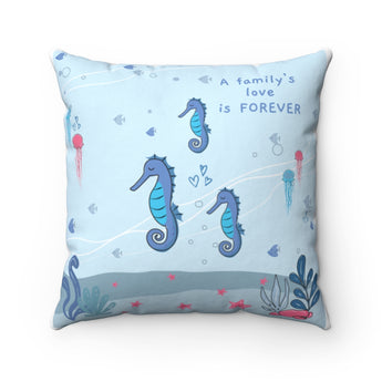 "Inspirational Throw Pillow – Forever Loved/A Family's Love is Forever – Under-The-Sea, Blue – Spun Polyester, 14""x14"""