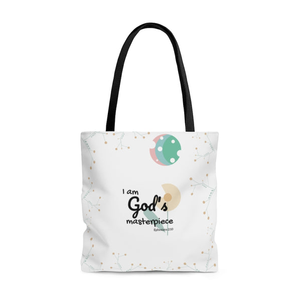 "God's Masterpiece/Child of God – Inspirational Christian-Themed Tote Bag – Flower/Moon – 100% Polyester, 18""x18"""