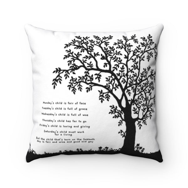 "Inspirational Throw Pillow – Monday's Child – Minimalist Design – Spun Polyester, 14""x14"""