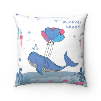 "Inspirational Throw Pillow – Forever Loved/A Family's Love is Forever – Under-The-Sea, White – Spun Polyester, 14""x14"""