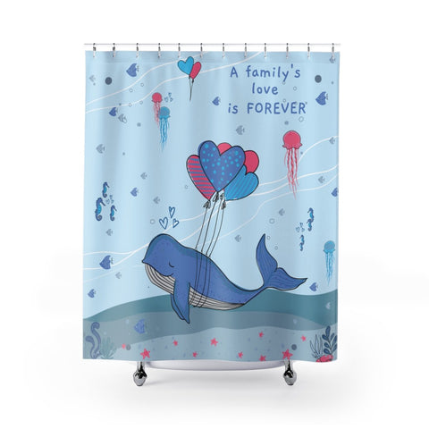 Inspirational Shower Curtain – Beautiful Under-the-Sea Scene - A Family's Love is Forever