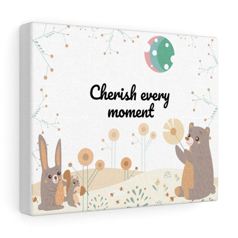 "Cherish Every Moment – Woodland Animals – Inspirational Christian Art Gallery Wrap – Premium Matte Cotton, 10"" x 8"""