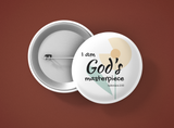 Inspirational Christian-Themed Pin Buttons – God's Masterpiece - Flower