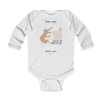 No Kisses Today to Keep the Germs at Bay – Woodland Fox - Infant & Toddler Long-Sleeve Bodysuit - Unisex