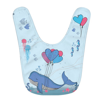 Under-The-Sea, Blue - Infant & Toddler Fleece Baby Bib