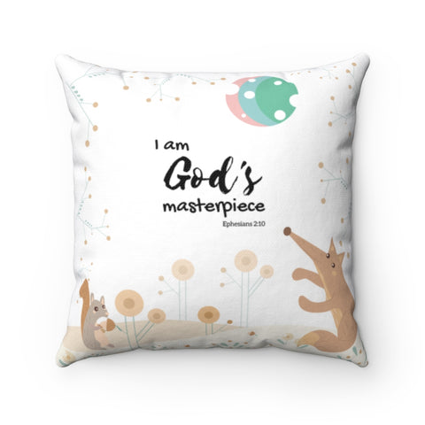 "Inspirational Christian Throw Pillow – God's Masterpiece/Child of God, Woodland Animals – Spun Polyester, 14""x14"""