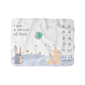 Christian Milestone Blanket - Woodland Hare and Fox, Blue - John 1:12, I Am a Child of God – Sherpa Fleece