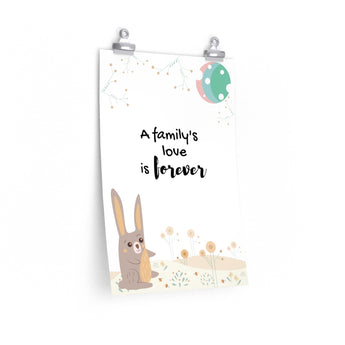 "A Family's Love is Forever – Woodland Hare – Inspirational Christian Art Poster – Premium Matte, 12"" x 18"""