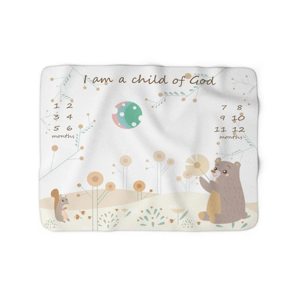 Christian Milestone Blanket - Woodland Squirrel and Bear - John 1:12, I Am a Child of God – Sherpa Fleece