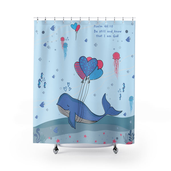 Inspirational Christian Shower Curtain – Blue - Beautiful Under the Sea Scene - Psalm 46:10, Be Still and Know That I am God