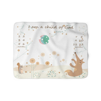 Christian Milestone Blanket - Woodland Squirrel and Fox - John 1:12, I Am a Child of God – Sherpa Fleece