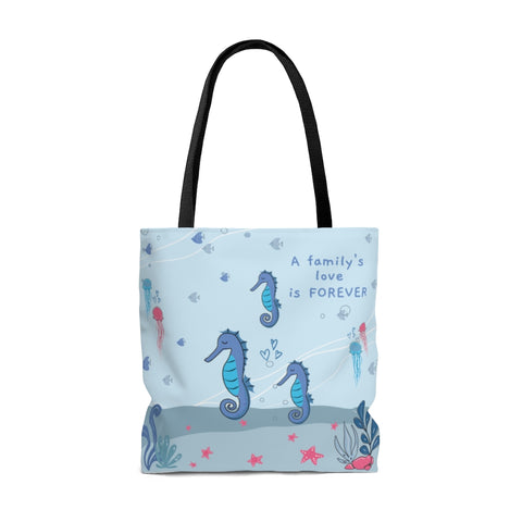 "Forever Loved/A Family's Love is Forever - Inspirational Tote Bag – Under-The-Sea– 100% Polyester, 18""x18"""