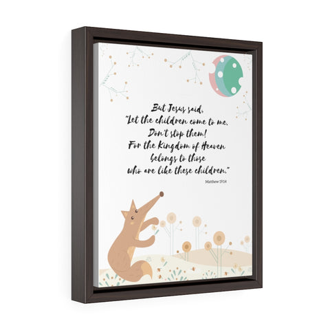 "Inspirational Bible Verse Wall Art for Baby's Nursery – Framed, 11"" x 14"" - Let the Little Children Come to Me"