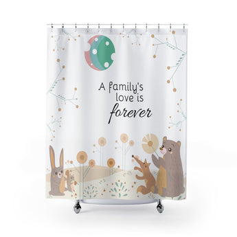 Inspirational Shower Curtain – Beautiful Woodland Animals Scene - A Family's Love is Forever