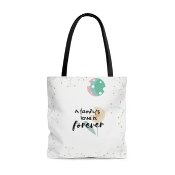 "Forever Loved/A Family's Love is Forever - Inspirational Tote Bag – Flower and Moon – 100% Polyester, 18""x18"""