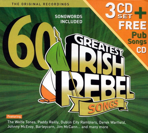 60 Greatest Irish Rebel Songs - 3 CD Set + Free Pub Songs CD - Various
