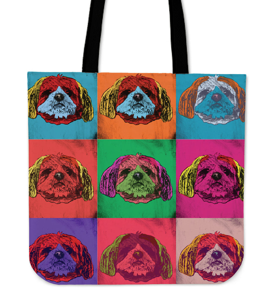 Shih Tzu Dog Breed Tote Bag (Andy Warhol Pattern)