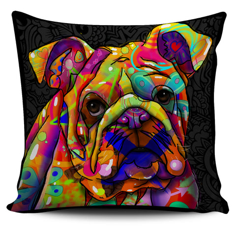 Bulldog Dog Breed Pillow Covers (Dark Love Doodles)