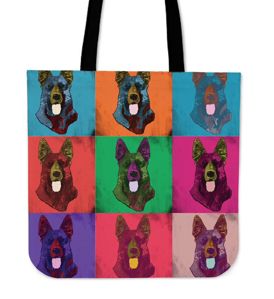German Shepherd Dog Breed Tote Bag (Andy Warhol Pattern)