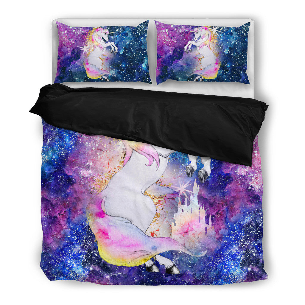 Top Rainbow Unicorn Stardust Bedding Set - Duvet, Pillow Cases [Twin  ZY38