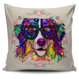 Bernese Mountain Dog Breed Pillow Covers (Glasses)