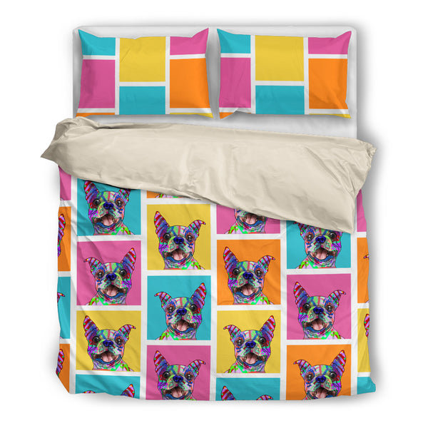 Boston Terrier Dog Breed Duvet Cover Bedding Set (Colorful Rectangles)