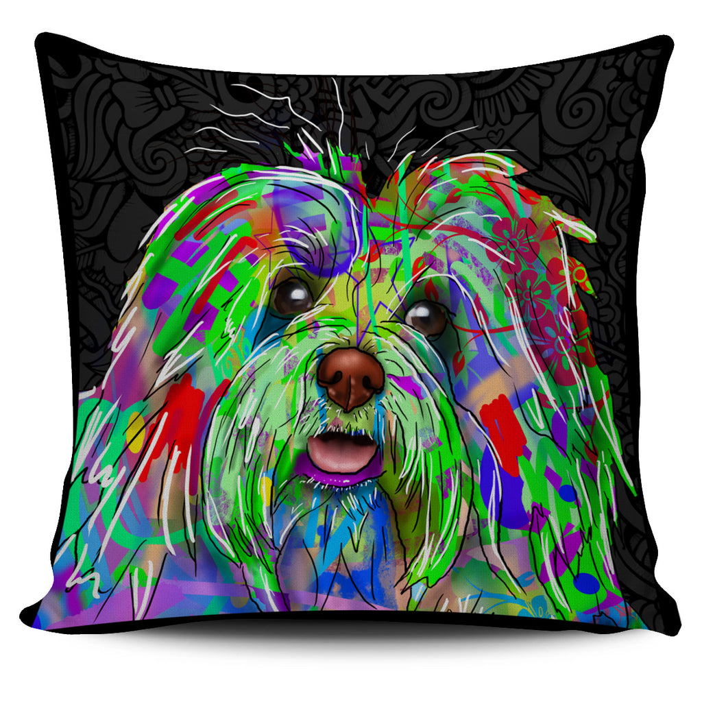Bichon Havanese Dog Breed Pillow Covers (Dark Love Doodles)