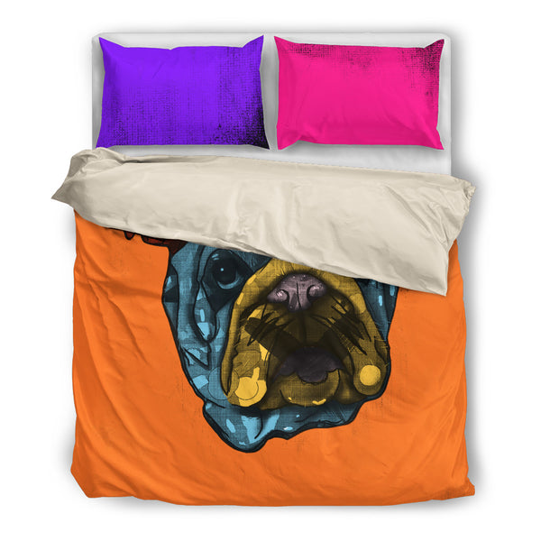 Bulldog Dog Breed Duvet Cover Bedding Set (Andy Warhol Style)