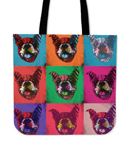 Boston Terrier Dog Breed Tote Bag (Andy Warhol Pattern)
