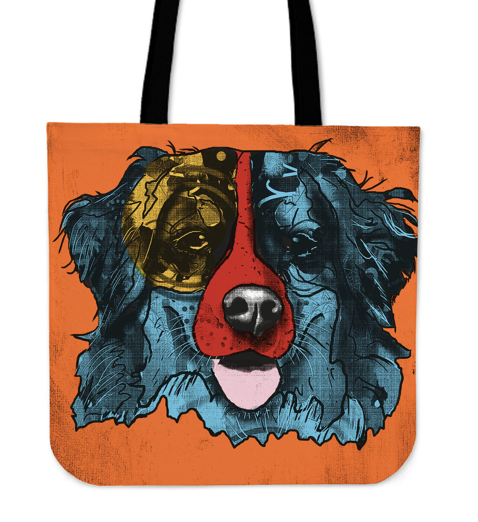 Bernese Mountain Dog Breed Tote Bag (Andy Warhol Style)