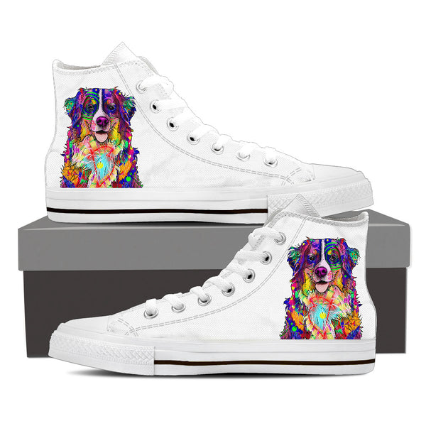Bernese Mountain Dog Men's Dog Breed High Top Canvas Shoes (Pure White)