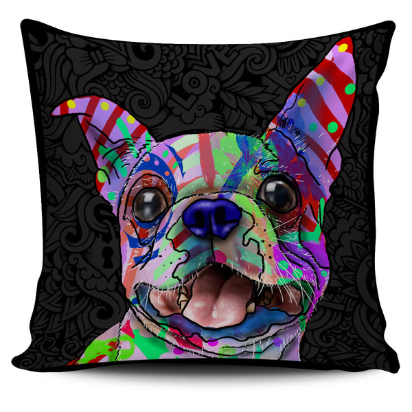 Boston Terrier Dog Breed Pillow Covers (Dark Love Doodles)