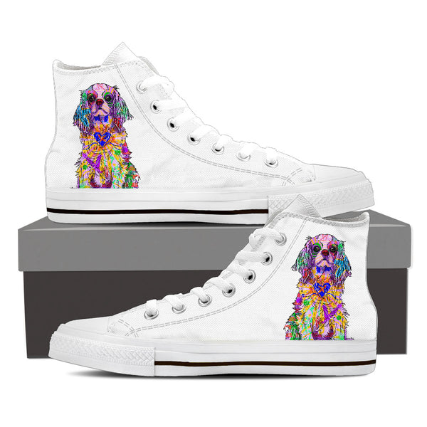Cavalier King Charles Spaniel Women's Dog Breed High Top Canvas Shoes (Pure White)