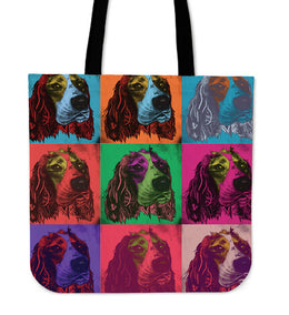 English Springer Spaniel Dog Breed Tote Bag (Andy Warhol Pattern)