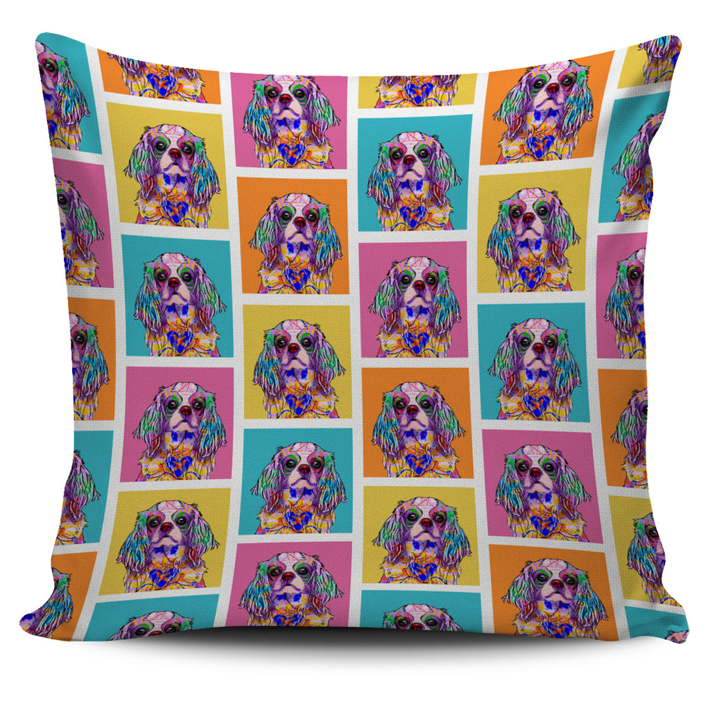 Cavalier King Charles Spaniel Dog Breed Pillow Covers (Colorful Boxes)
