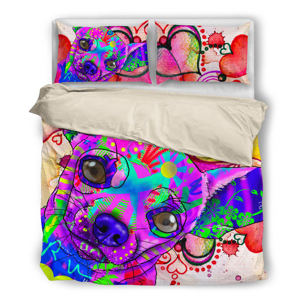 Chihuahua Dog Breed Duvet Cover Bedding Set (Watercolor Dreams)