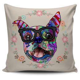 Boston Terrier Dog Breed Pillow Covers (Glasses)