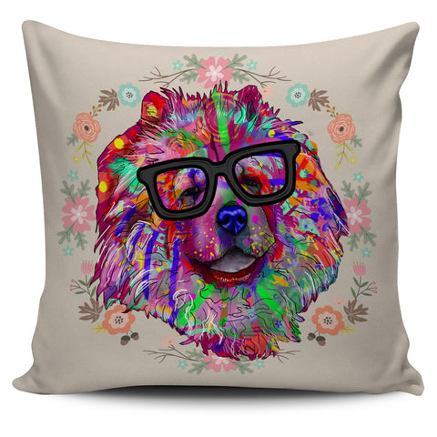Chow Dog Breed Pillow Covers (Glasses)