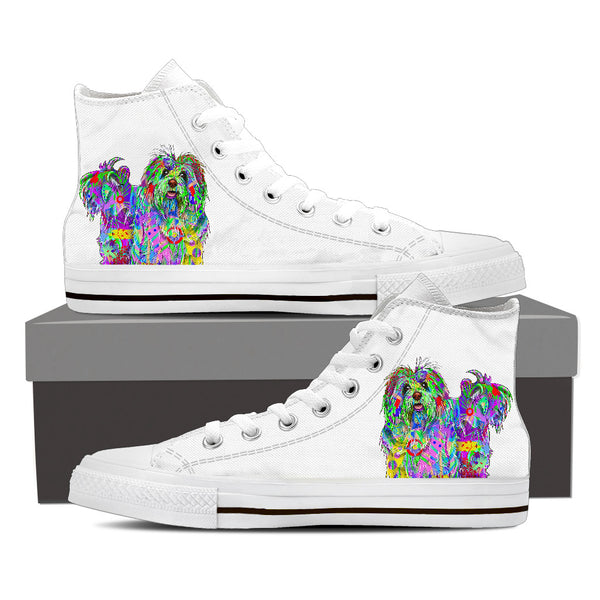 Bichon Havanese Women's Dog Breed High Top Canvas Shoes (Pure White)