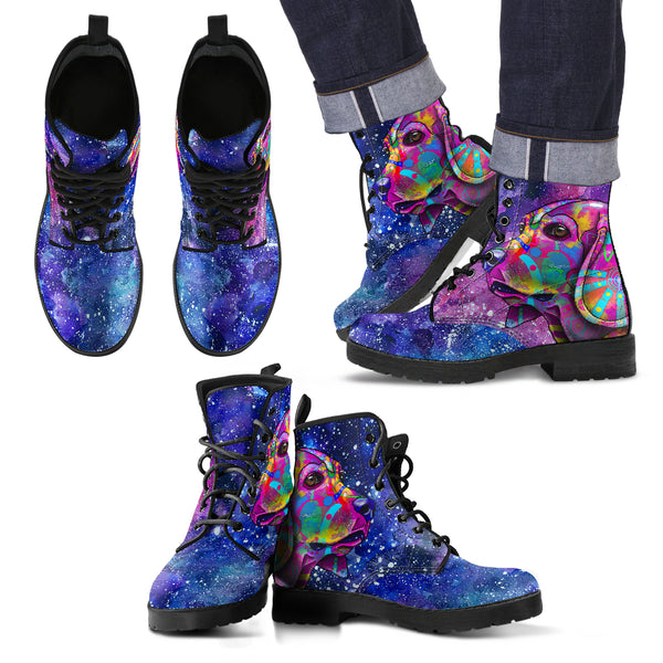 Beagle Dog Men's Premium Leather Boots (Cosmic Stardust)