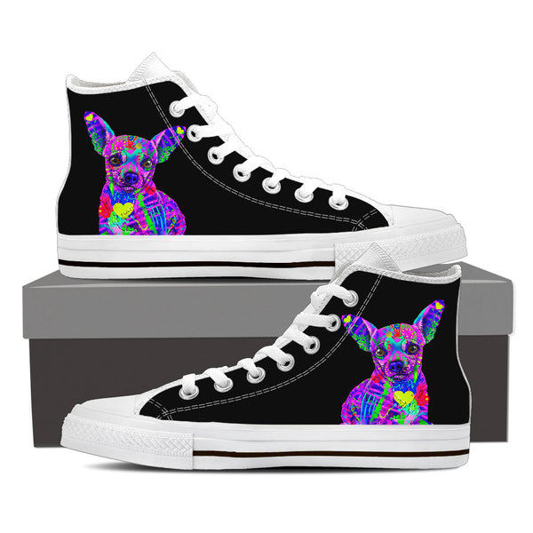 Chihuahua Women's Dog Breed High Top Canvas Shoes (Pure Black)