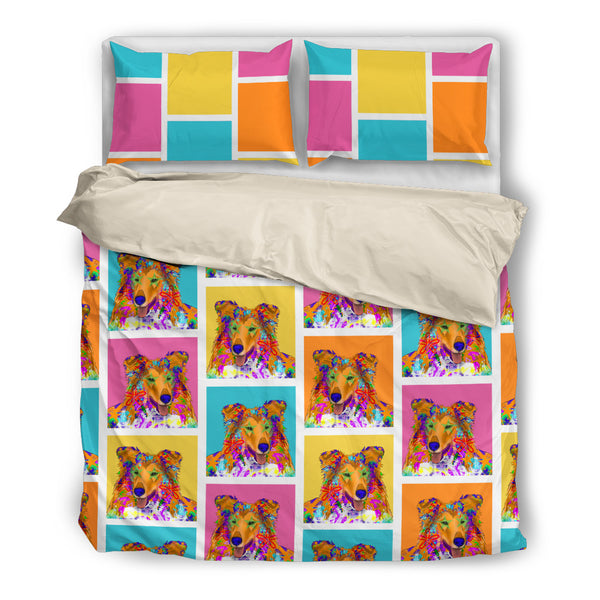 Collie Dog Breed Duvet Cover Bedding Set (Colorful Rectangles)